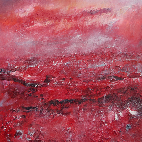 Landscape In Shades Of Red (the colour of extremes), 2019 - original oil painting on canvas (H40xW40cm)