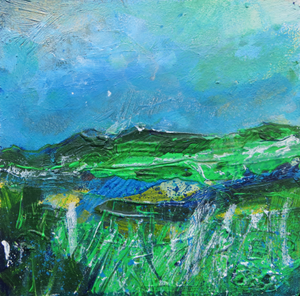 Landscape In Shades Of Green And Blue - original painting on wood by Martina Furlong inspired by the Irish landscape