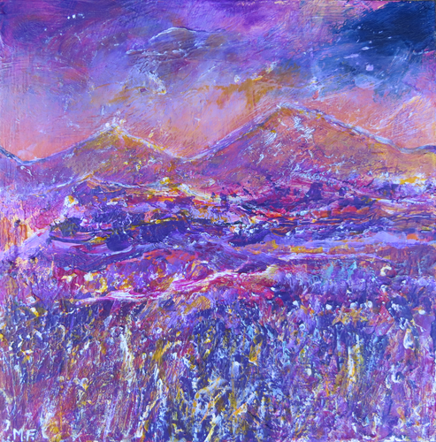 Landscape Study In Purple And Gold