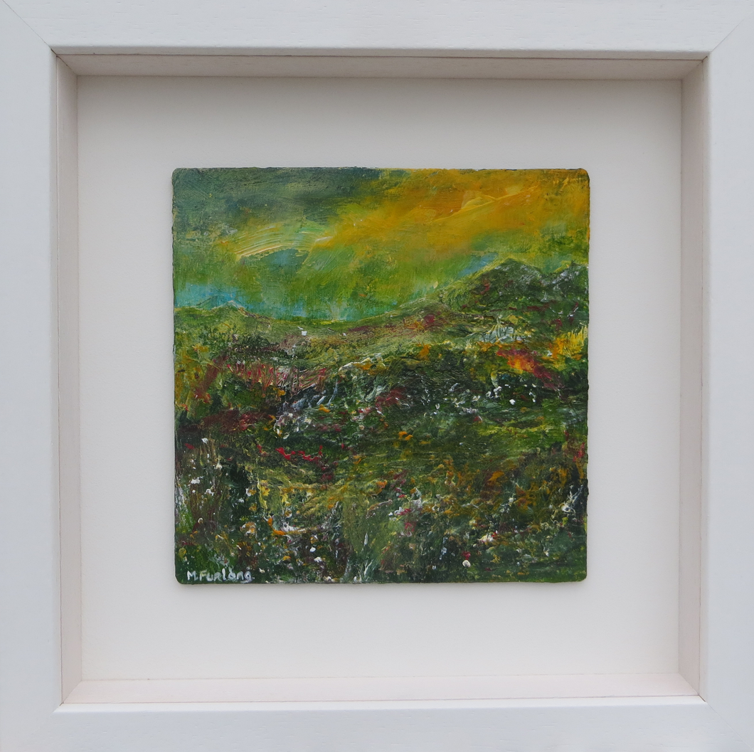 Landscape With Green And Yellow 2019 - original acrylic painting on wood (H15xW15cm)