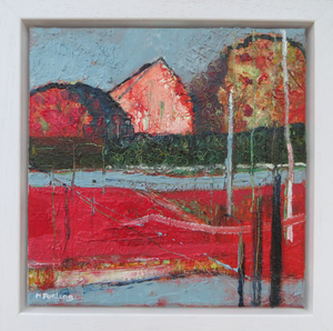 Landscape With Red And Grey, 2018 - original oil painting on canvas (H20xW20cm)
