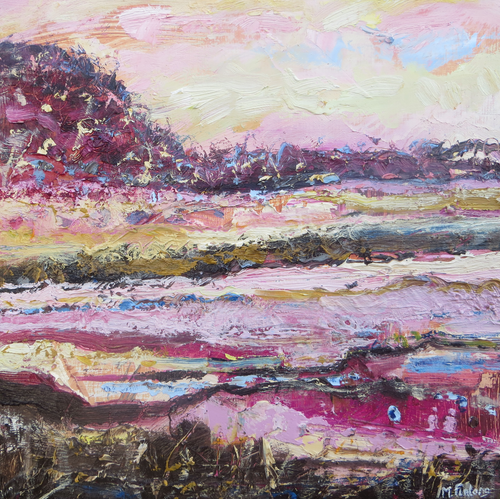Irish landscape painting in pink yellow and blue by Contemporary Irish Abstract and Landscape Artist Martina Furlong