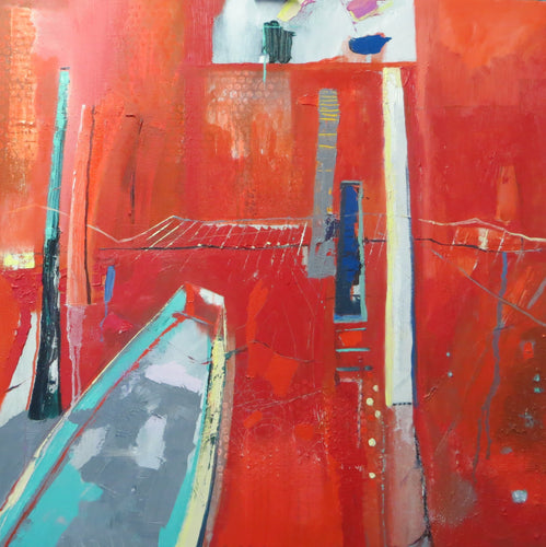 Contemporary Original Large Abstract Painting in red by Irish Artist Martina Furlong
