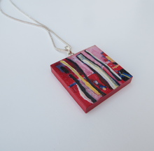 Load image into Gallery viewer, nice-dream-hand-painted-statement-pendant-in-red-with-sterling-silver-chain