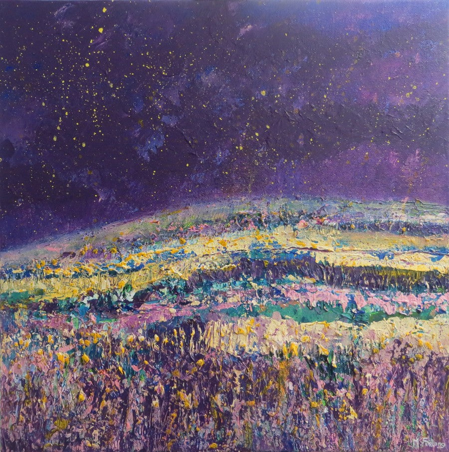Original Irish landscape painting in purple and gold starry night