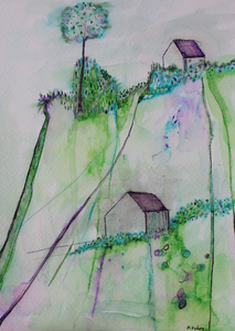 Light filled ink drawing in green and purple
