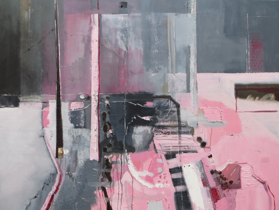 'The Present Moment In Pink And Grey' - original oil painting on canvas (H76xW101cm)