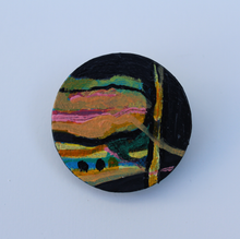 Load image into Gallery viewer, Hand painted statement brooch with abstract art unique jewellery wearable art brooch by Irish artist Martina Furlong made in Ireland