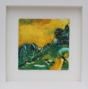 Expressive textured Irish landscape painting in yellow and green by contemporary Irish Artist Martina Furlong