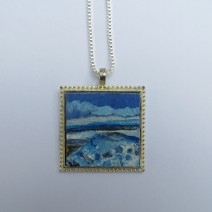 Seascape In Blue - Hand Painted Pendant (H2.5xW2.5cm with 54cm sterling silver chain)