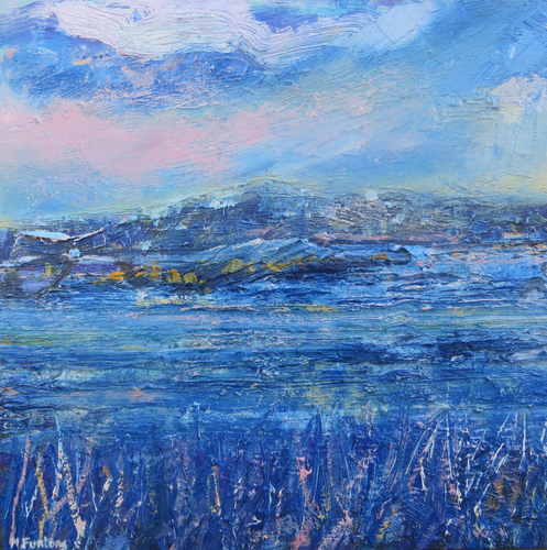 Irish seascape painting oil painting inspired by the Irish sea and the Irish coast wild atlantic way seascape painting in blue and pink