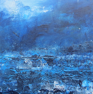 Seascape In Blue, January 2020 - original acrylic painting on wood (H15xW15cm)