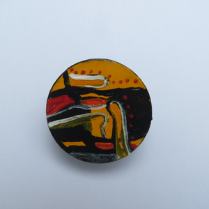 Unique hand painted brooch with yellow abstract painting statement jewellery wearable art brooch designed and made in Ireland