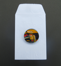 Load image into Gallery viewer, Sitting In Silence - Hand Painted Brooch (3cm diameter)