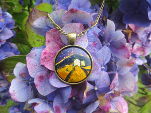 Starry Night - Hand Painted Pendant (2.5cm diameter with 72cm bronze chain)