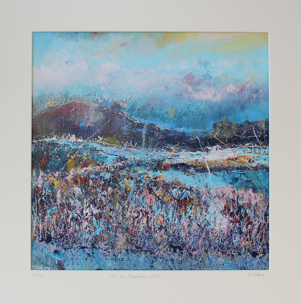Limited edition print of an Irish landscape painting in blue green pink and yellow with mountains and fields