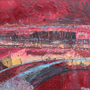 Semi abstract landscape painting in alizarin crimson by Irish artist Martina Furlong