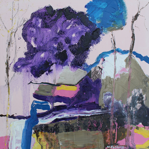 A colourful painting in shades of purple and pink with touches of brown, blue, white and yellow
