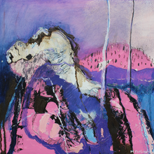 Load image into Gallery viewer, Original Irish landscape painting in purple and pink made in Ireland by Martina Furlong