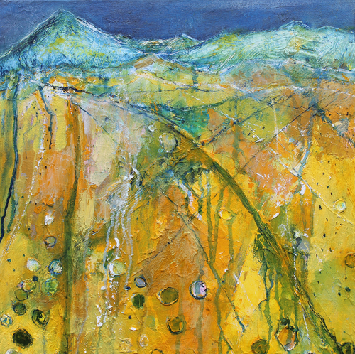 The View From The Hill In Yellow - original oil painting on canvas (H40xW40cm)