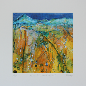 Limited edition print yellow and blue Irish landscape painting with fields and countains