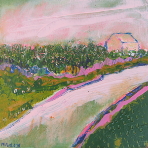 The Cottage With Pink And Green 1 - original acrylic painting on wood (H15xW15cm)