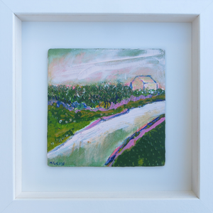 The Cottage With Pink And Green 1 - original acrylic painting on wood (framed)