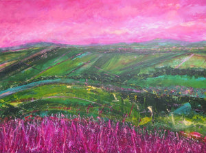 The Hill In Pink And Green II