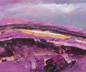 The Hill On A Purple And Grey Day - original acrylic painting on canvas (H25xW30cm)