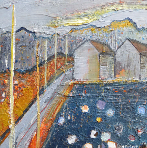 The Pathway In Orange And Grey (Heritage Series 1) 2018 - original oil painting on wood (H20xW20cm)