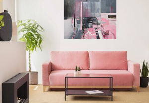 original abstract oil painting on canvas in pink and grey by Martina Furlong art for sale by artist