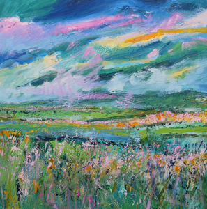 The View From The Hill In Summer, 2018 - original oil painting on canvas (H50xW50cm)