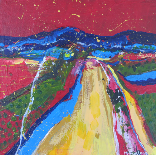 The Yellow Pathway 2020 - original acrylic painting on wood (H15xW15cm)
