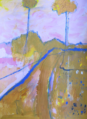 Study Of Two Trees In Yellow Ochre