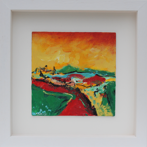 Vibrant Irish landscape painting in red yellow and green by Martina Furlong