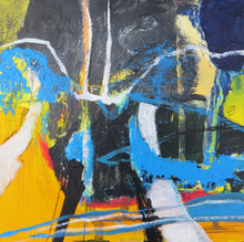 Load image into Gallery viewer, Original Irish abstract landscape painting in yellow black blue and red mixed media on wood  by Irish artist Martina Furlong