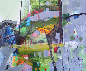Abstract landscape exploding with colour by contemporary Irish artist Martina Furlong