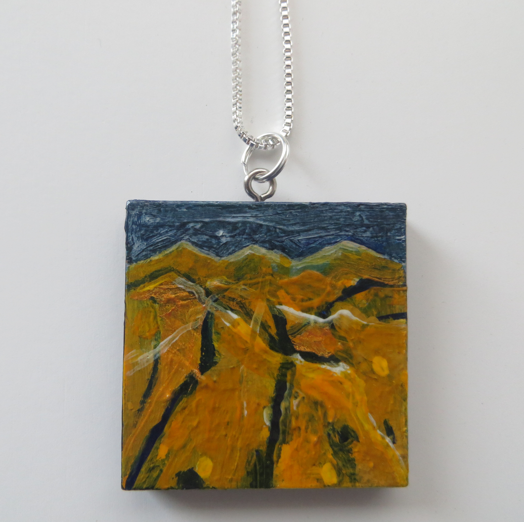 Beyond The Yellow Fields - Hand Painted Pendant (H4xW4cm)