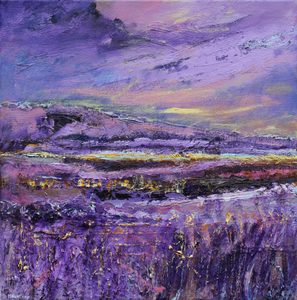 Contemporary landscape painting in purple by Irish Artist Martina Furlong