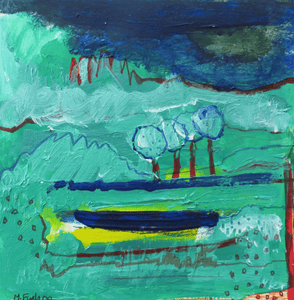 Martina Furlong - Contemporary Abstract and Landscape Artist Hand Painted Card Four Green Trees - Hand Painted Card Irish art Colourful paintings