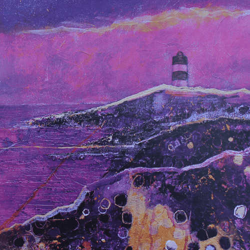 Martina Furlong - Contemporary Abstract and Landscape Artist Hand Painted Card Hook Lighthouse - Greeting Card Irish art Colourful paintings