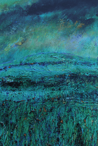 Martina Furlong - Contemporary Abstract and Landscape Artist Hand Painted Card In Green, May 2016 - Greeting Card Irish art Colourful paintings