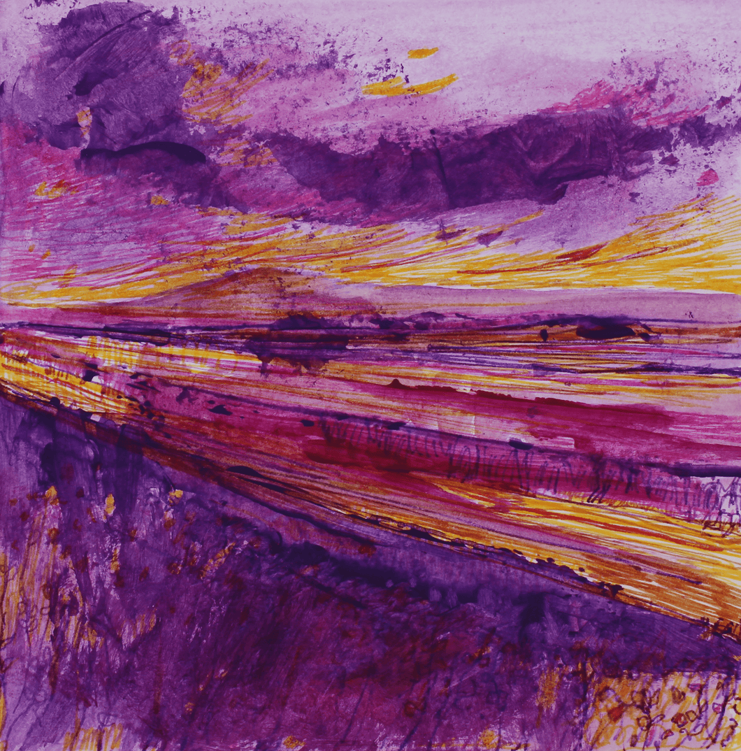Martina Furlong - Contemporary Abstract and Landscape Artist Hand Painted Card Landscape In Purple And Gold - Hand Painted Card Irish art Colourful paintings