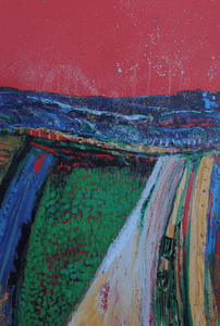 Martina Furlong - Contemporary Abstract and Landscape Artist Hand Painted Card Over The Hill And Far Away - Greeting Card Irish art Colourful paintings