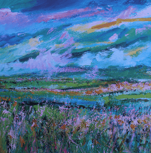 Martina Furlong - Contemporary Abstract and Landscape Artist Hand Painted Card The View From The Hill In Summer - Greeting Card Irish art Colourful paintings