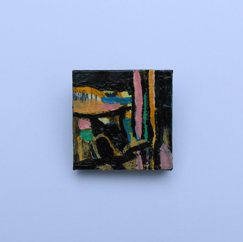 Martina Furlong - Contemporary Abstract and Landscape Artist Hand Painted Jewellery A Walk In The Park - Hand Painted Brooch (H3xW3cm) Irish art Colourful paintings