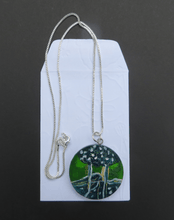 Load image into Gallery viewer, Martina Furlong - Contemporary Abstract and Landscape Artist Hand Painted Jewellery Presented in a bag as shown 'Green Trees' - Hand Painted Pendant (4cm diameter) Irish art Colourful paintings