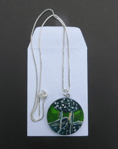 Martina Furlong - Contemporary Abstract and Landscape Artist Hand Painted Jewellery Presented in a bag as shown 'Green Trees' - Hand Painted Pendant (4cm diameter) Irish art Colourful paintings