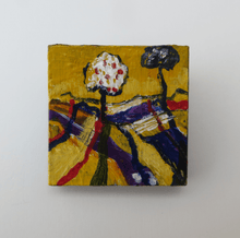 Load image into Gallery viewer, Martina Furlong - Contemporary Abstract and Landscape Artist Hand Painted Jewellery Presented in a box as shown Two Trees Stand Together - Hand painted Brooch (H4xW4cm) Irish art Colourful paintings
