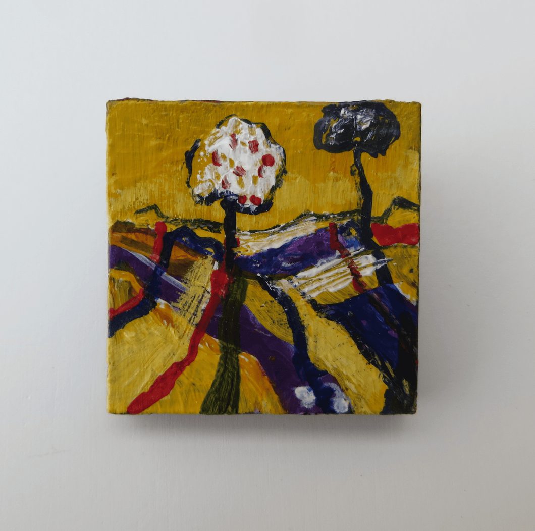 Martina Furlong - Contemporary Abstract and Landscape Artist Hand Painted Jewellery Presented in a box as shown Two Trees Stand Together - Hand painted Brooch (H4xW4cm) Irish art Colourful paintings